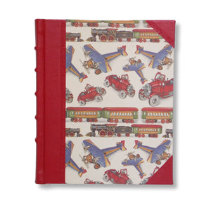 Red leather kids photo album - planes, trains and automobiles