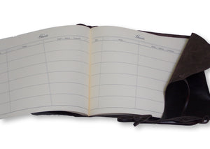 Wrap Style Leather Guest Book - Printed Pages