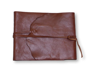 Leather wrap signature book in chestnut