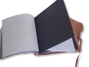 Leather Wrap Photo Album -  black pages and interleaving tissue