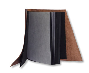 Black pages with interleaving tissue in leather wrap photo album