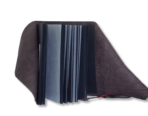 Chocolate leather wrap album with black pages