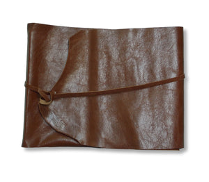 Leather wrap photo album in chestnut brown