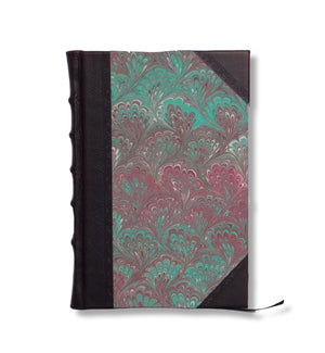 Marble cover half leather journal