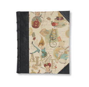 Leather photo album in Alice in wonderland design