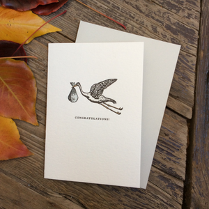 Letterpress 'Congratulations' Stork Blue
