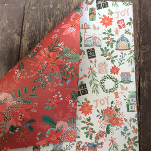 Red Floral xmas wrap