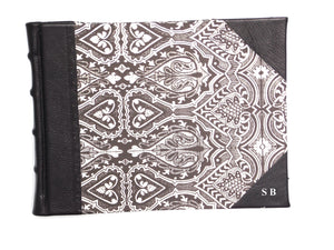 Half Leather Signature Book- Black Persian Design