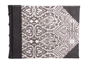 Black leather guest book in Persian design