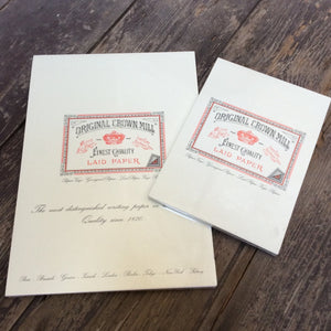 Original Crown Mill writing pads