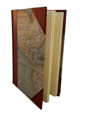 World  Maps Half Leather Journal