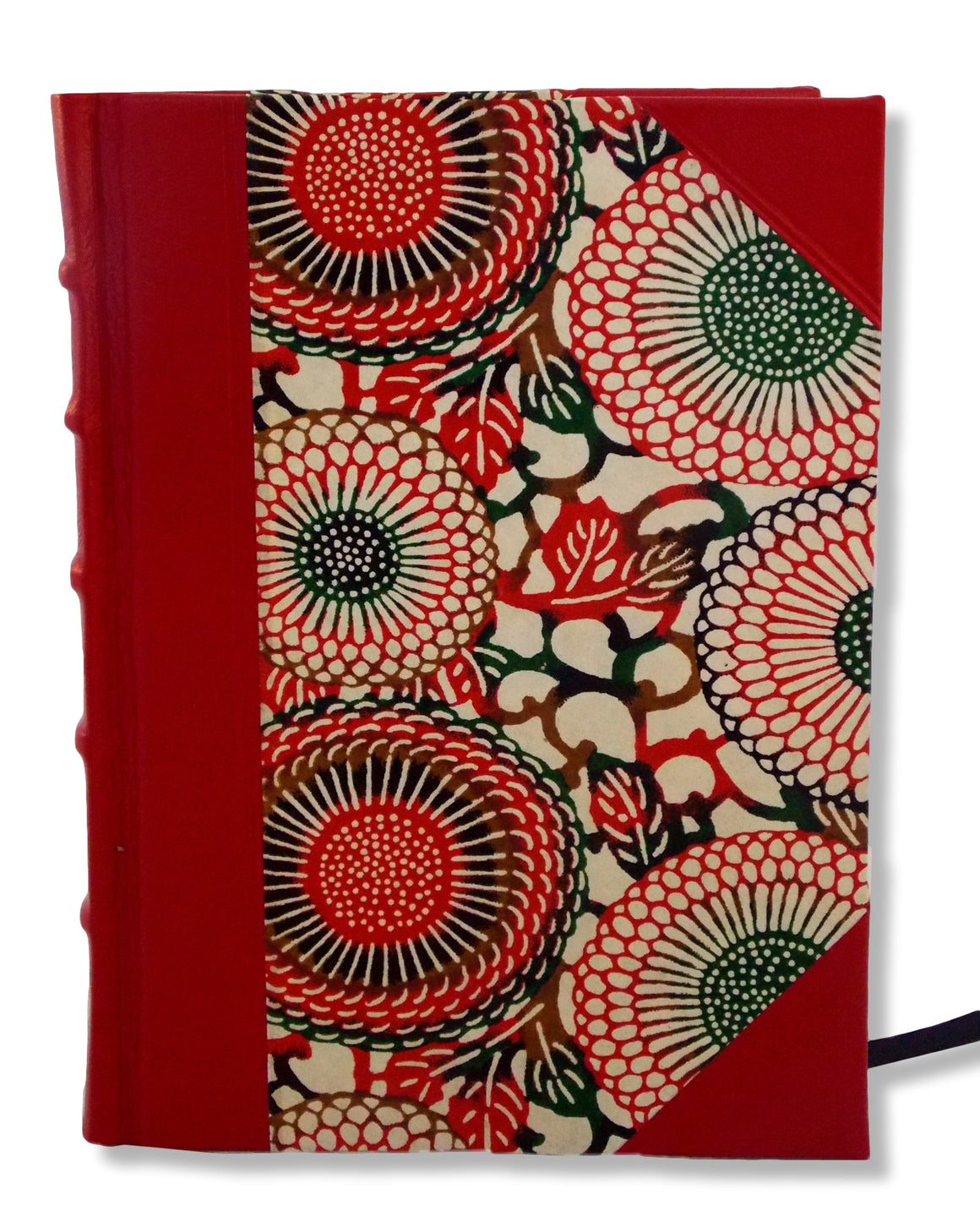 Red half leather blank journal featuring distinctive Japanese washi paper sides