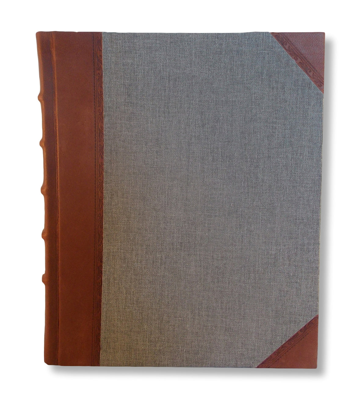 A classic leather photo album featuring brown leather spine with hand tooling and book cloth sides