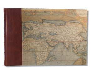 Large Photo Album - Quarter leather World Maps Design