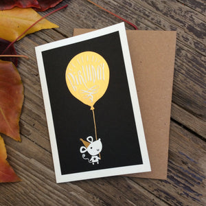 'Birthday' Gold Foil Mouse with Balloon