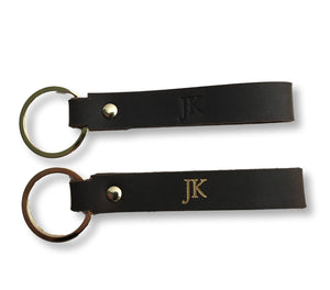 Leather personalised keyring