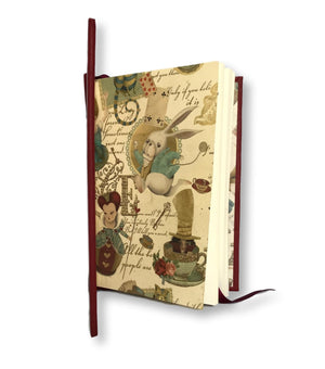Leather Baby Journal with Alice in Wonderland endpapers