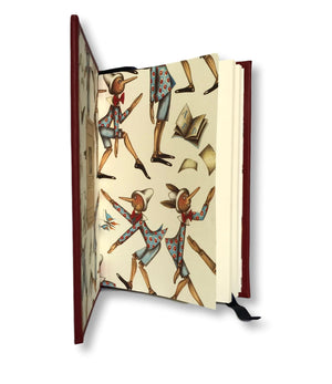 Leather Baby Journal with Pinocchio endpapers