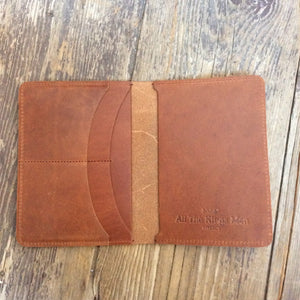 Brown Leather passport wallet inside pockets