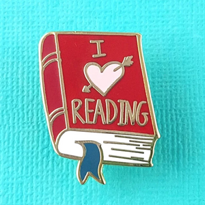 I Heart Reading Label Pin