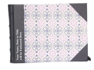 Half Leather Signature Book- Letterpress Diamonds Design