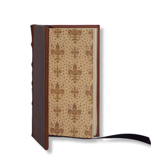 Brown leather slimline journal with Italian end papers