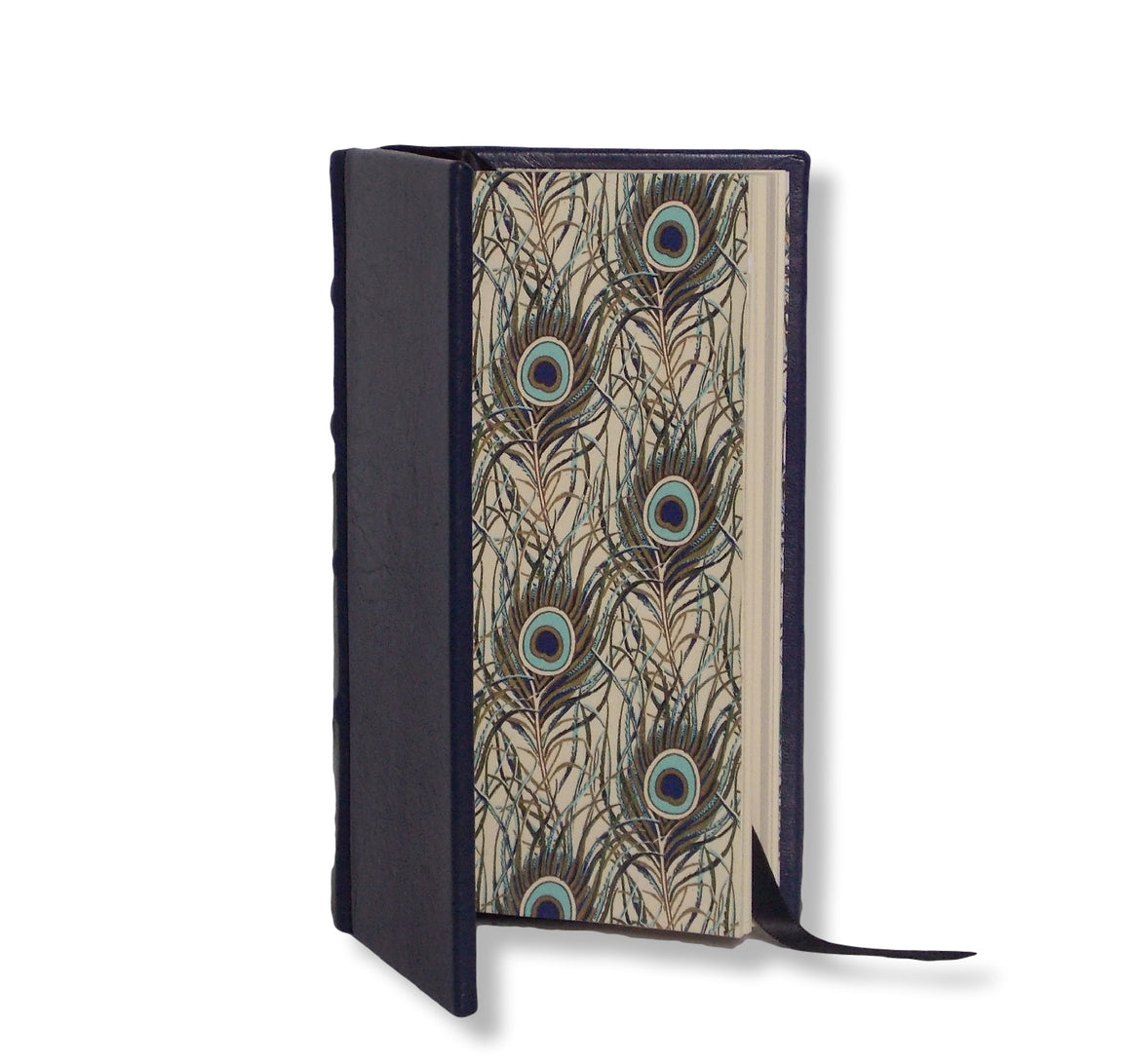 Navy leather slimline journal with peacock design end papers
