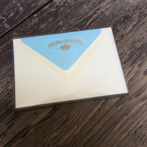 Correspondence card set with ice blue lined envelopes