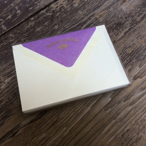 Correspondence card set with mauve lined envelopes