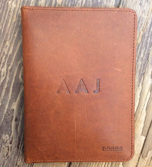 Personalisation on Brown leather passport wallet