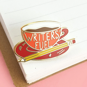 Writer's Fuel Label Pin