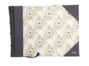Leather bound signature book with initials embossed