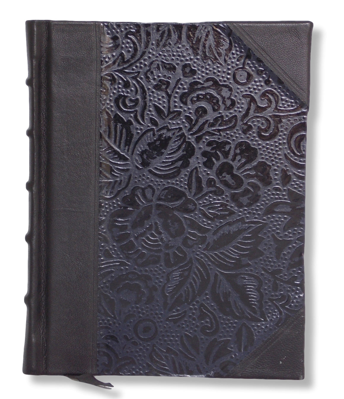 Black photo album featuring leather spine and corners and embossed paper sides