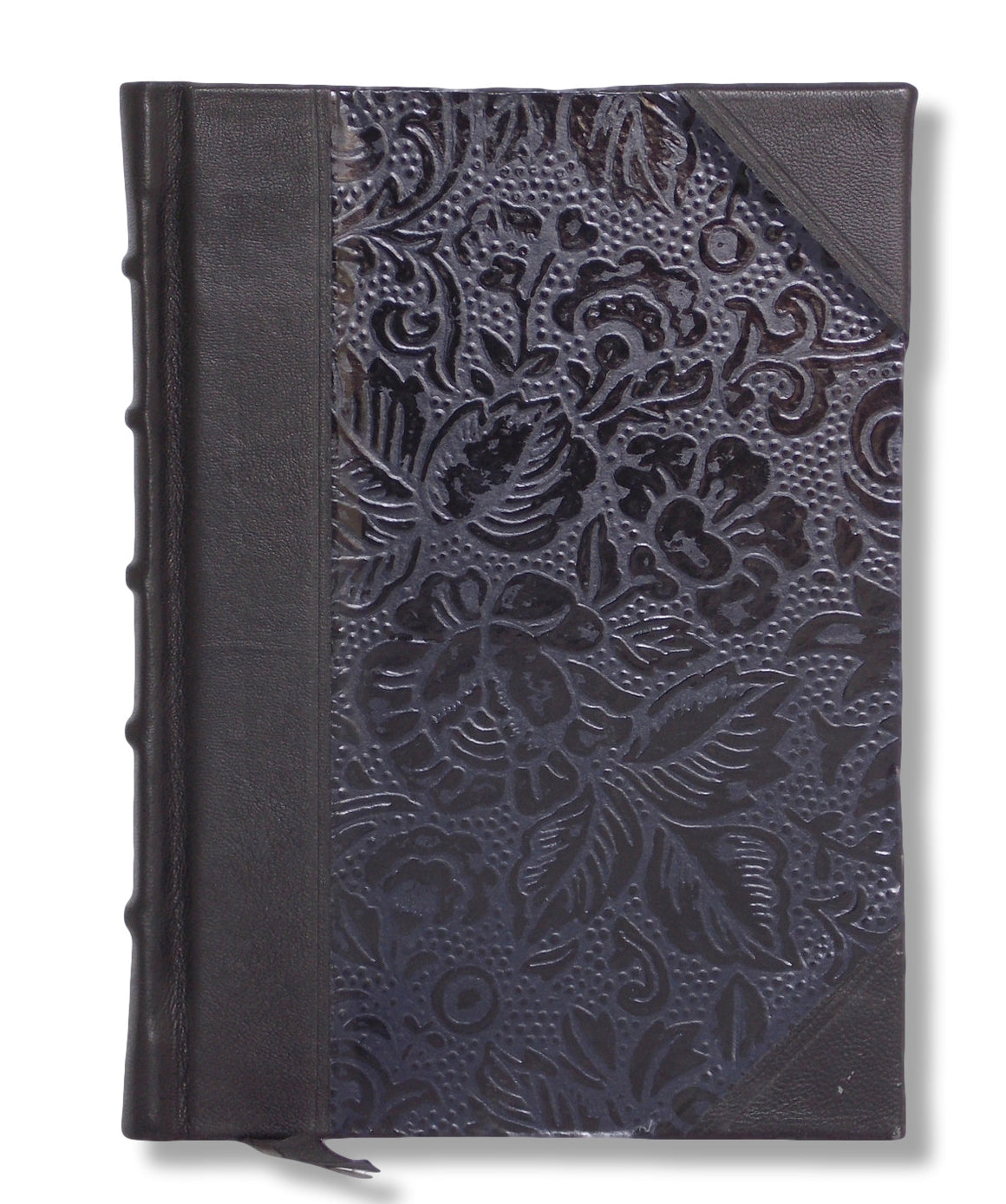 Black leather journal with Japanese washi paper sides