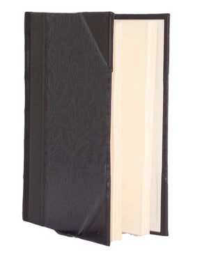 Black Floral Half Leather Journal