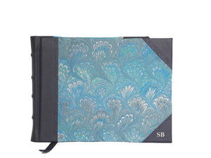 Half Leather Signature Book- Blue Marble