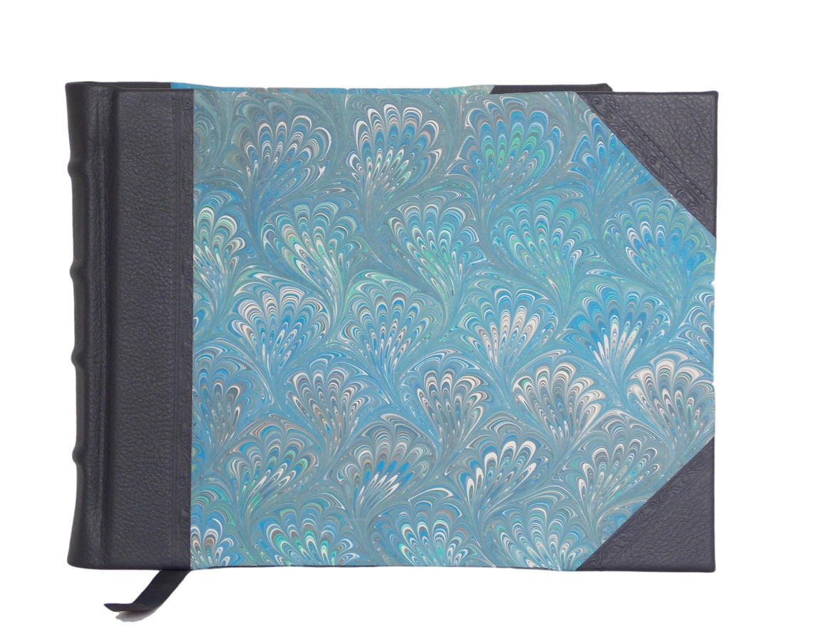 Leather guest book with traditional marbled sides