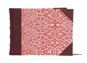 Brown leather guest book in Persian Red design