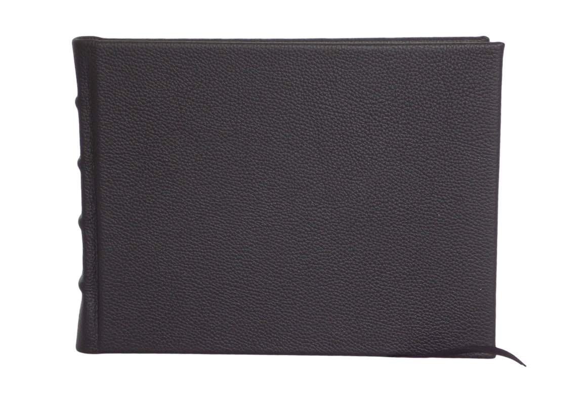 Black leather hard cover guest book perfect for personalisation