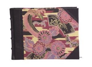 Black half leather guest book with purple Japanese washi paper sides