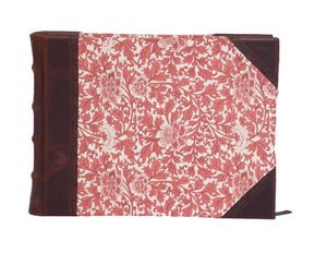 Brown leather guest book with Italian printed sides