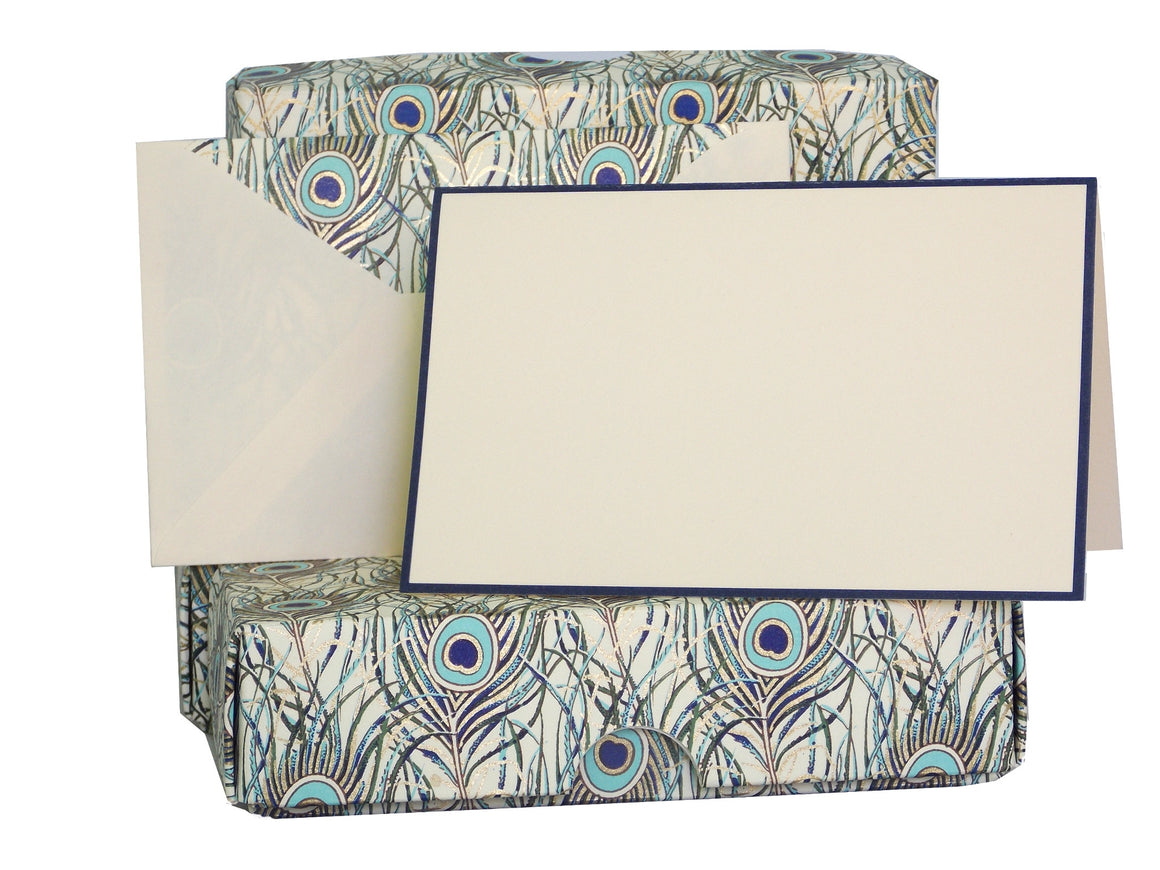 Boxed Stationery Set - Peacock Design Gold Foiled Set