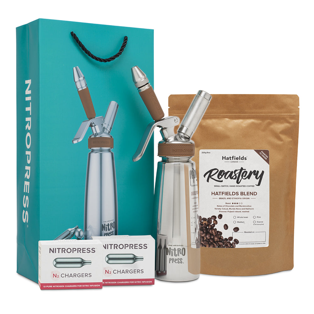 The Original NitroPress Starter Kit (Teal) - 20 N2 Chargers - 250g/9oz Roasted Coffee