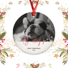 Load image into Gallery viewer, Personalized Puppy Picture Ornament - First Christmas Ornament