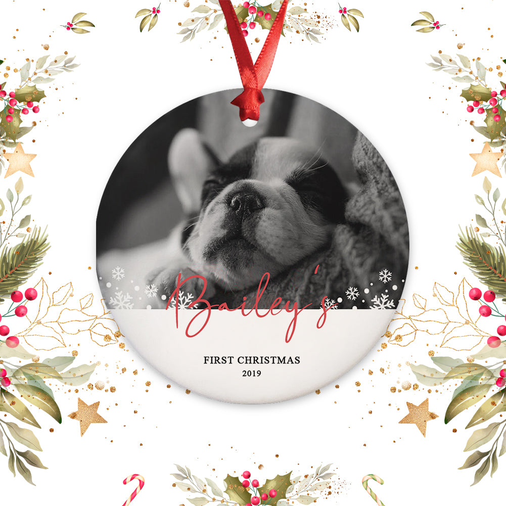 Personalized Puppy Picture Ornament - First Christmas Ornament