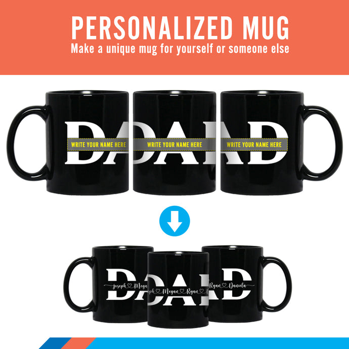 Personalized Fathers Day Gift Mug | Full Wrap Sign Mug | Gift for Dad.