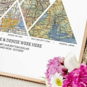 Personalized Adventure Map (Framed) - Custom Travel Map Anniversary, Wedding Gift