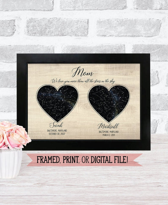 Personalized Night Sky Star Map DIGITAL - Custom made Mother's Day gift, Birthday, Girlfriend, Boyfriend, Husband or Anniversary gift!