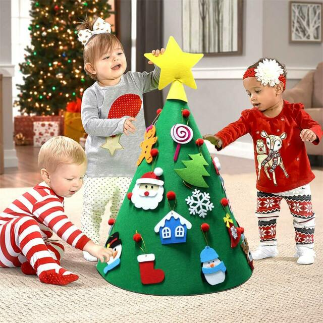 Toddler Felt Christmas Tree New Year Gift for Kids Xmas Home Hanging Ornaments Decoration DIY Christmas Tree