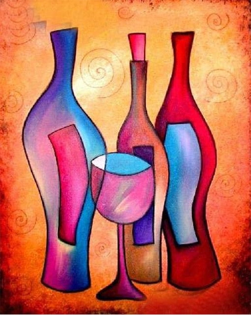 Abstract Wine Bottle - Diamond Painting Kit